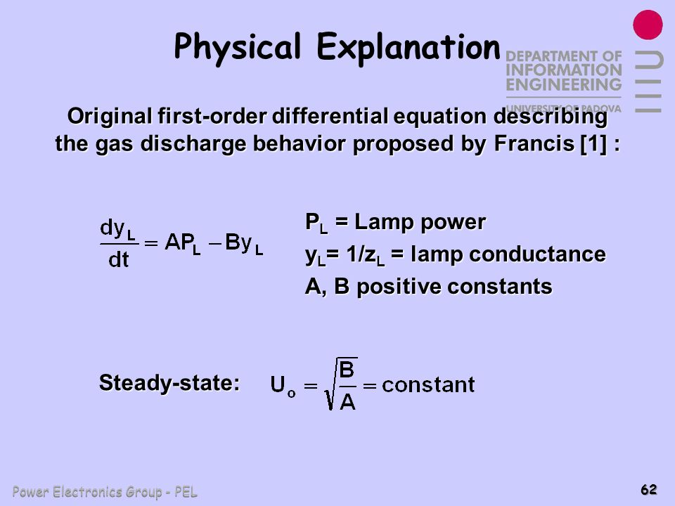 Physical Explanation Original first-order differential equation describing the gas discharge behavior proposed by Francis [1] :